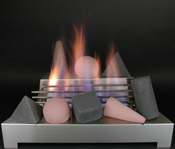 ventless gas fireplace with fire shapes