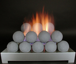 gray fire balls in unvented gas fireplace