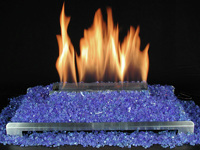 ventless gas fireplace with crushed blue glass highly reflective